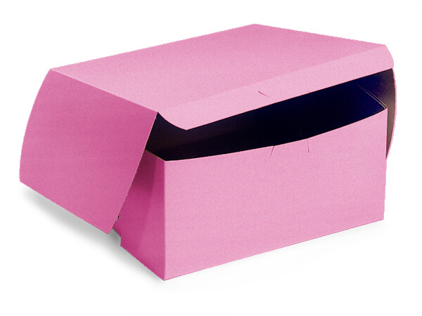 "7x7x4"" Pink Bakery Boxes 200 Pk 1-piece Lock Corner Box"
