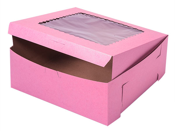 "10x10x4"" Pink Window Bakery Boxes 100 Pk 1-piece Lock Corner Box"