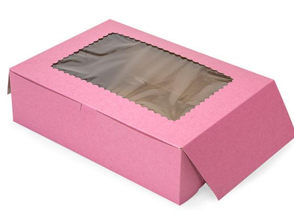 "14x10x4"" Pink Window Bakery Boxes 100 Pk 1-piece Lock Corner Box"