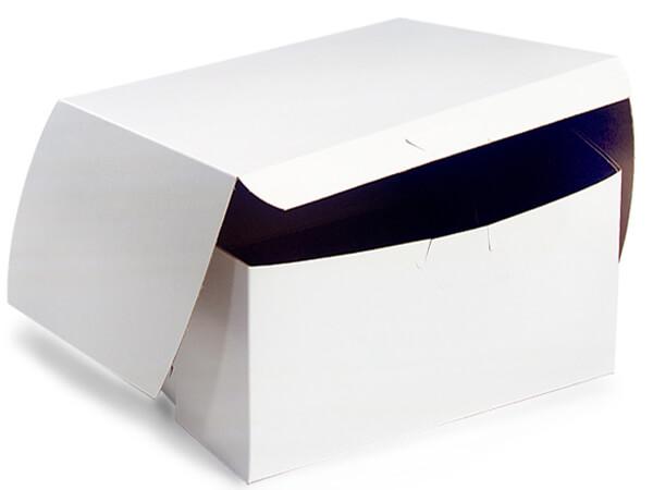 """12x12x5"""" White Bakery Boxes 100 Pk 1-piece Lock Corner Box"""