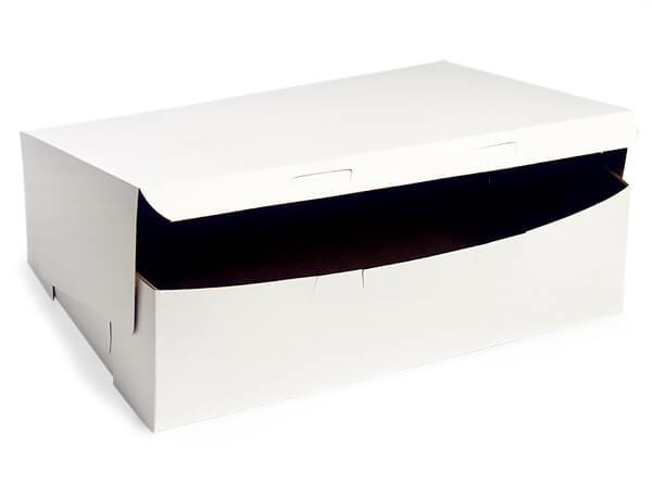 """14x10x4"""" White Bakery Boxes 100 Pk 1-piece Lock Corner Box"""