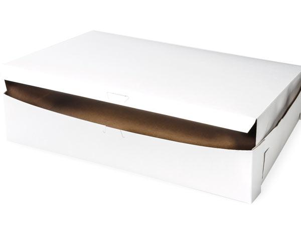 19x14x4 White Bakery Box 50 Pk 1-piece Lock Corner Box