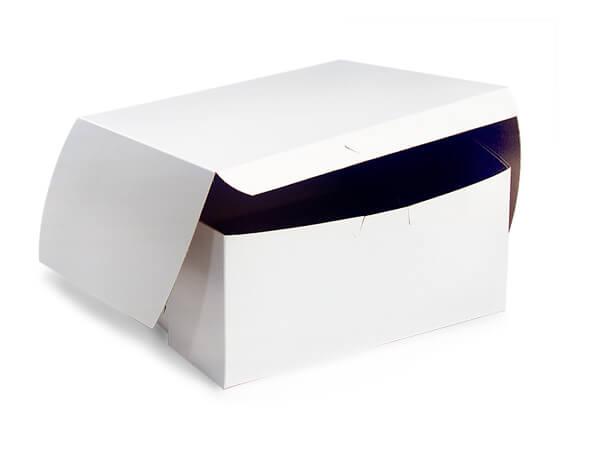 """6x6x3"""" White Bakery Boxes 250 Pk 1-piece Lock Corner Box"""