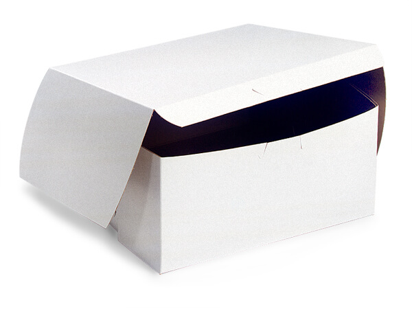 "7x7x4"" White Bakery Boxes 200 Pk 1-piece Lock Corner Box"