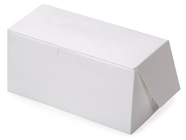 """8x4x4"""" White Bakery Boxes 200 Pk 1-piece Lock Corner Box"""