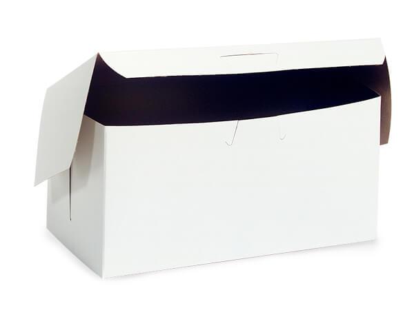 """8x5-1/2x3"""" White Bakery Boxes 250 Pk 1-piece Lock Corner Box"""