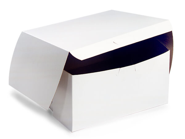 "8x8x4"" White Bakery Boxes 200 Pk 1-piece Lock Corner Box"