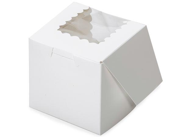 "4x4x4"" White Window Bakery Boxes 100 Pk 1-piece Lock Corner Cupcake"