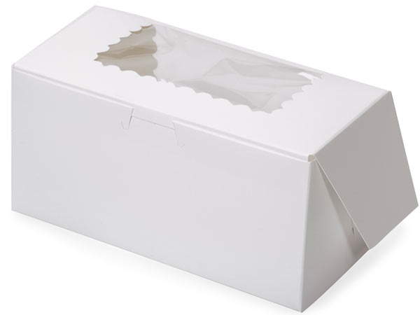 "8x4x4"" White Window Bakery Boxes 100 Pk 1-piece Lock Corner Box"