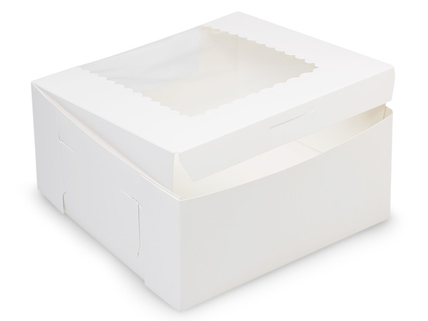 "8x8x4"" White Window Bakery Boxes 100 Pk 1-piece Lock Corner Box"