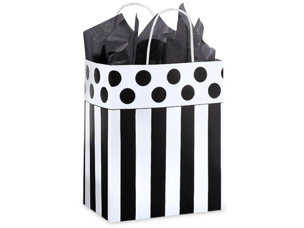 """Domino Alley Paper Shopping Bags Cub 8x4.75x10.25"""", 250 Pack"""