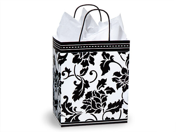 "Floral Brocade Paper Shopping Bags Cub 8.25x4.75x10.5"", 250 Pack"