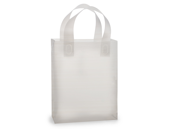 "Clear Frosted Plastic Gift Bags, Cub 8x4x9.75"", 250 Pack, 3 mil"