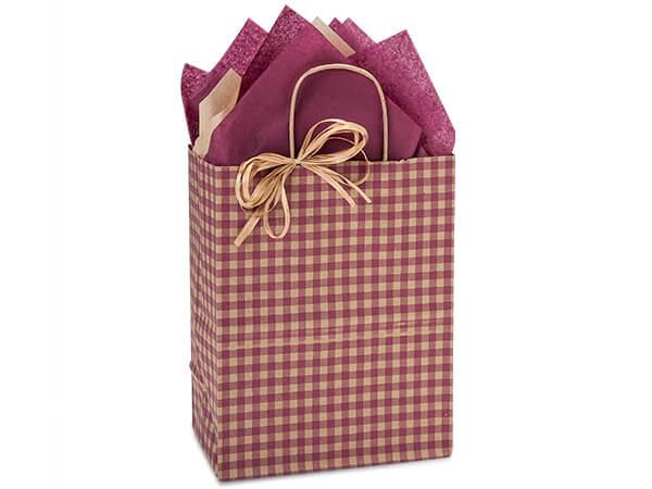 "Burgundy Gingham Paper Shopping Bags, Cub 8x4.75x10.25"", 250 Pack"