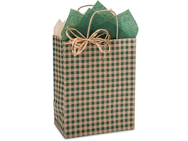 "Hunter Gingham Paper Shopping Bags, Cub 8x4.75x10.25"", 250 Pack"