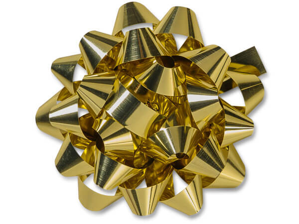 "Metallic Gold 4"" Confetti Gift Bows, 48 Pack"