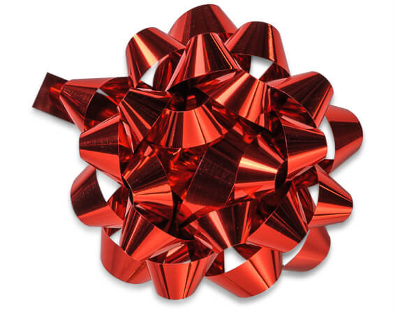 """4"""" Metallic Red Confetti Gift Bows, 48 Pack"""