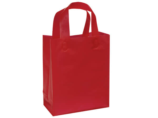 "Red Plastic Gift Bags, Cub 8x4x10"", 200 Pack"