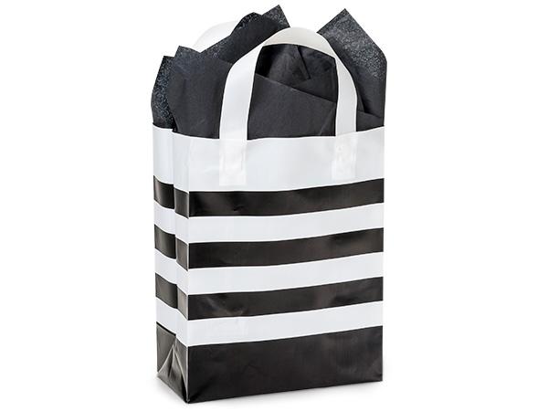 "Black Stripe Plastic Gift Bags, Cub 8x4x10"", 100 Pack"