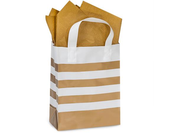 "Metallic Gold Stripe Plastic Gift Bags, Cub 8x4x10"", 100 Pack"
