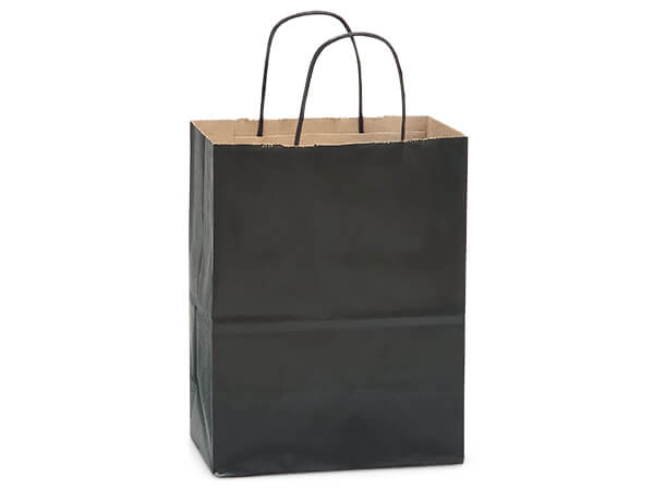 "Black Recycled Kraft Bags Cub 8x4.75x10.5"", 250 Pack"