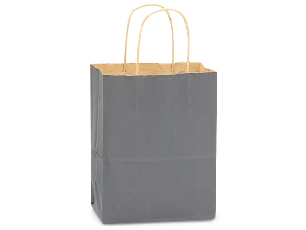 "Charcoal Gray Recycled Kraft Bags Cub 8x4.75x10.5"", 250 Pack"