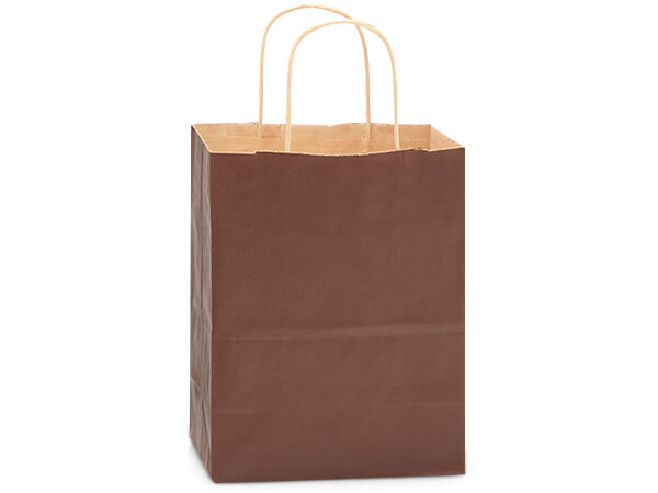 "Chocolate Brown Recycled Kraft Bags Cub 8x4.75x10.5"", 250 Pack"