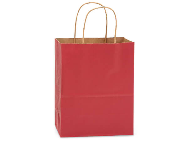 "Christmas Red Recycled Kraft Bags Cub 8x4.75x10.5"", 250 Pack"
