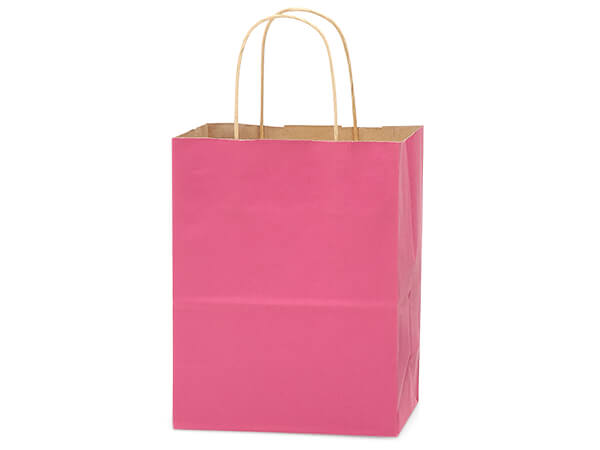 "Lipstick Pink Recycled Kraft Bags Cub 8x4.75x10.5"", 250 Pack"