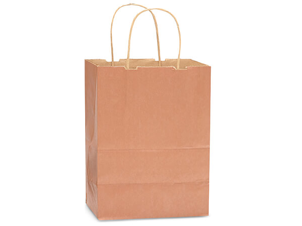"Metallic Copper Recycled Kraft Bags Cub 8x4.75x10.5"", 250 Pack"