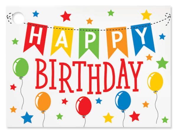 Birthday Banner Theme Gift Cards 3-3/4x2-3/4""