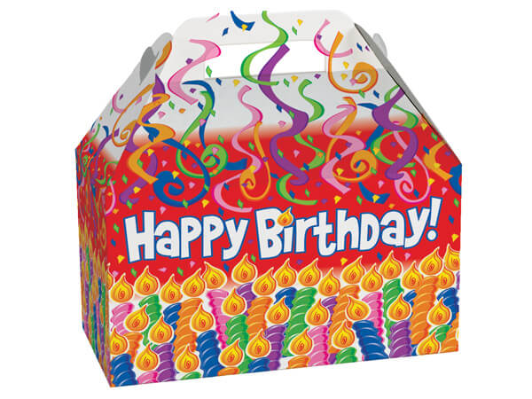 """Birthday Candles Gable Boxes, 8-1/2 x 4-3/4 x 5-1/2"""", Pack 6"""