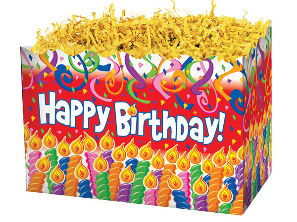 "Birthday Candles Basket Boxes, Large 10.25x6x7.5"", 6 Pack"