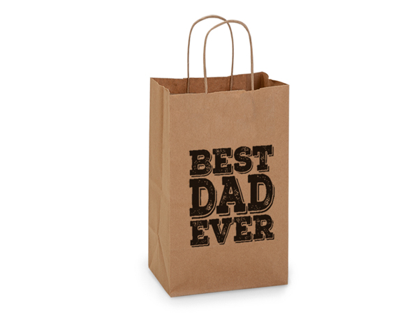 "Best Dad Ever Father's Day Gift Bag Rose 5.5x3.25x8.25"", 5 pack"