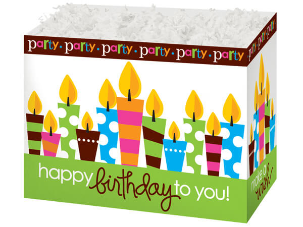 Large Birthday Party Basket Boxes 10-1/4x6x7-1/2""
