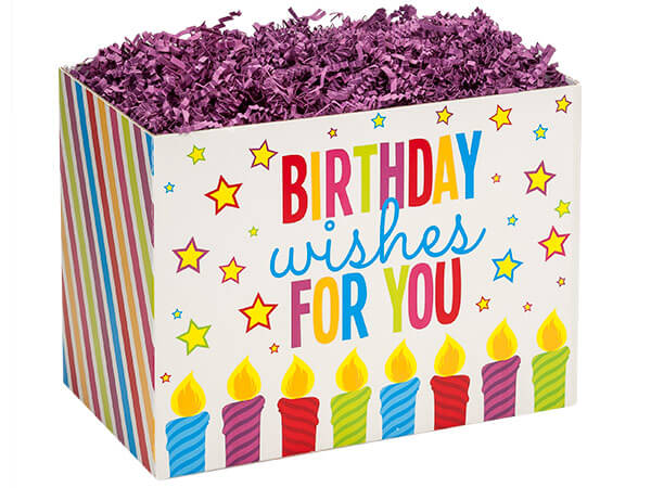 "Birthday Wishes Basket Boxes, Large 10.25x6x7.5"", 6 Pack"