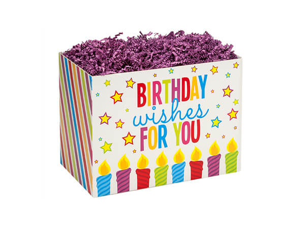 "Small Birthday Wishes Basket Box 6 3/4 x 4"" x 5"""