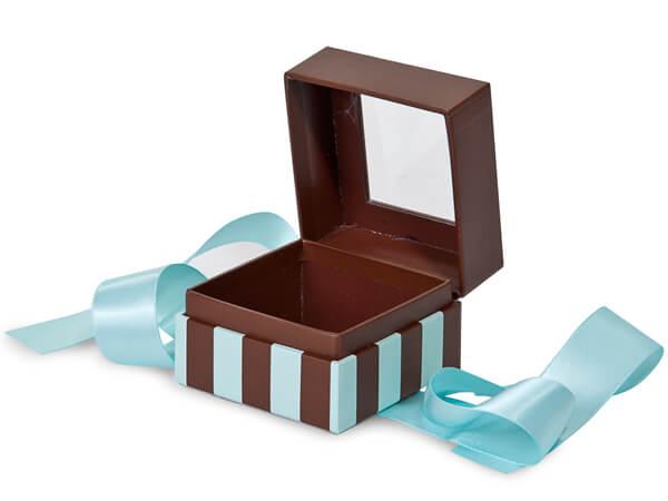 "Aqua & Chocolate Stripe Window Box with Ribbon, 2.75x2.75x2"", 18 Pack"