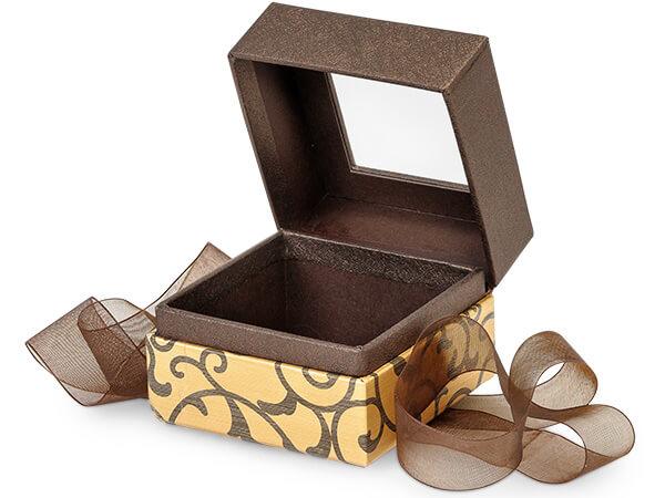 "Elegant Chocolate Scroll Window Box with Ribbon, 2.75x2.75x2"", 18 Pack"
