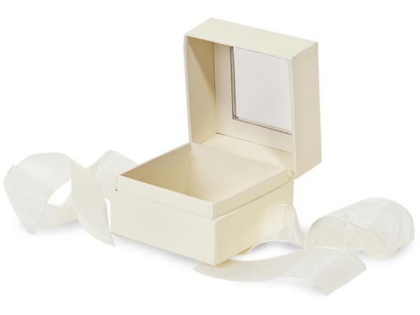 "Ivory Window Box with Ribbon, 2.75x2.75x2"", 18 Pack"