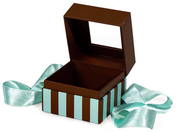 "Aqua & Chocolate Stripe Window Box with Ribbon, 3.75x3.75x3"", 18 Pack"