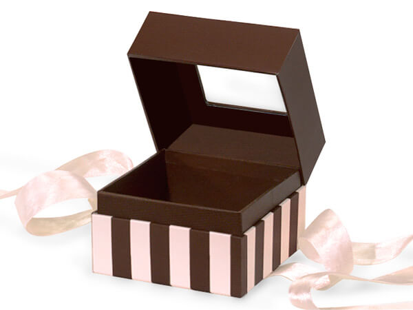 "Chocolate & Pink Stripe Window Box with Ribbon, 3.75x3.75x3"", 18 Pack"