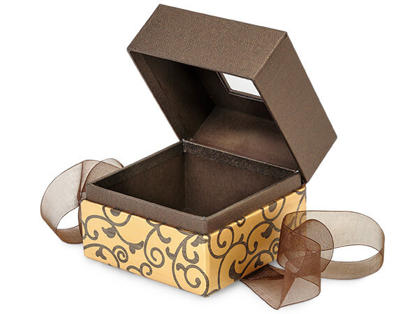 "Elegant Chocolate Scroll Window Box with Ribbon, 3.75x3.75x3"", 18 Pack"