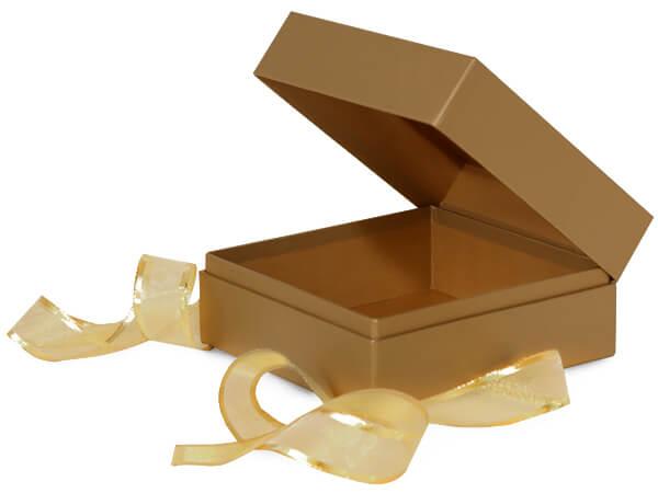 "Metallic Gold Window Box with Ribbon, 3.75x3.75x3"", 18 Pack"