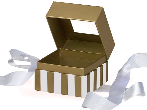 "Gold & Ivory Stripe Window Box with Ribbon, 3.75x3.75x3"", 18 Pack"