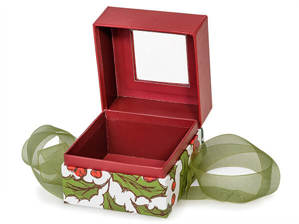 """Holly Berry Tidings Window Box with Ribbon, 3.75x3.75x3"""", 18 Pack"""
