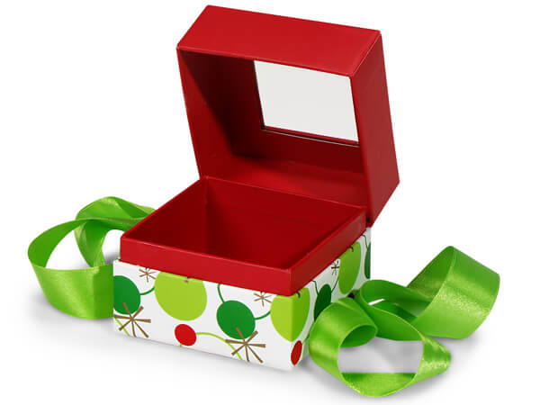 "Hip Holiday Window Box with Ribbon, 3.75x3.75x3"", 18 Pack"