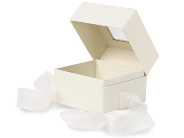 "Ivory Window Box with Ribbon, 3.75x3.75x3"", 18 Pack"
