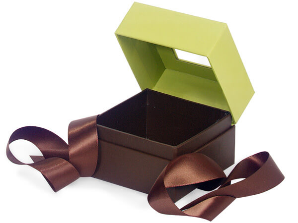 "Pistachio & Chocolate Window Box with Ribbon, 3.75x3.75x3"", 18 Pack"