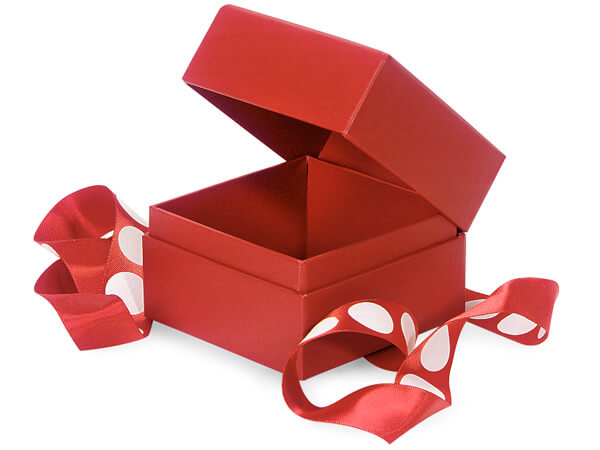 Red Presentation Boxes with White Dot Ribbon